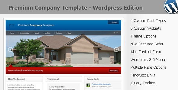 Premium Company Template – WordPress 3.0