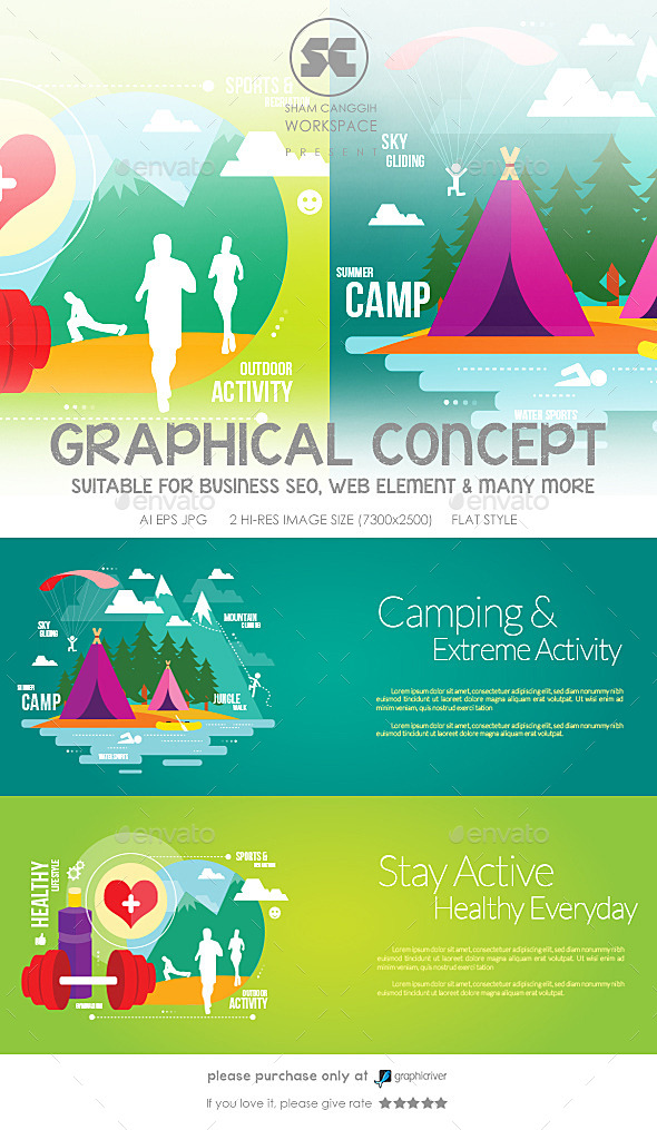 Flat Concept for Camping, Sports & Fitness - Sports/Activity Conceptual