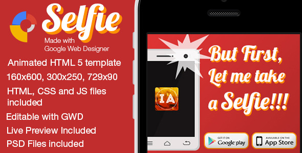 Selfie - Animated Mobile App Banner Templates - CodeCanyon Item for Sale