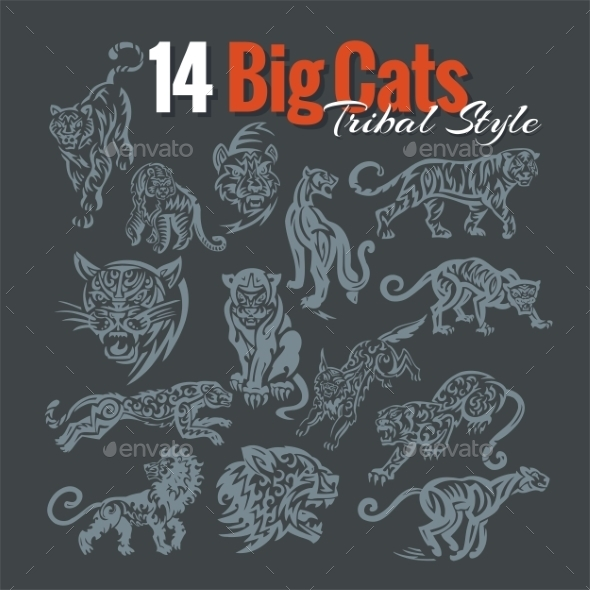 Big Cats in Tribal Style - Tattoos Vectors