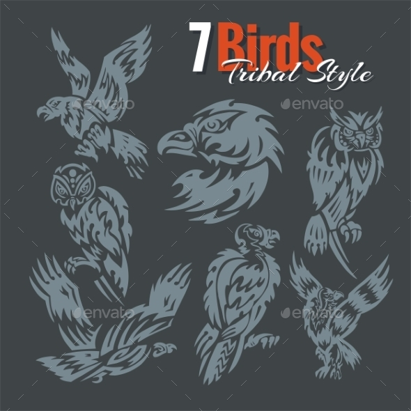 Birds in Tribal Style - Tattoos Vectors