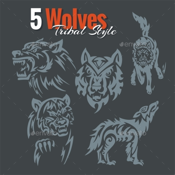 Wolves in Tribal Style - Tattoos Vectors