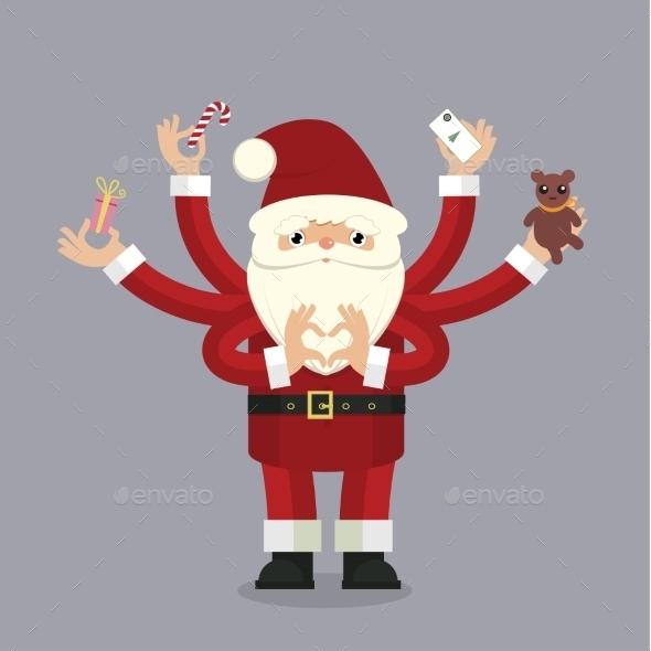 Many-armed Santa Claus on gray - Christmas Seasons/Holidays