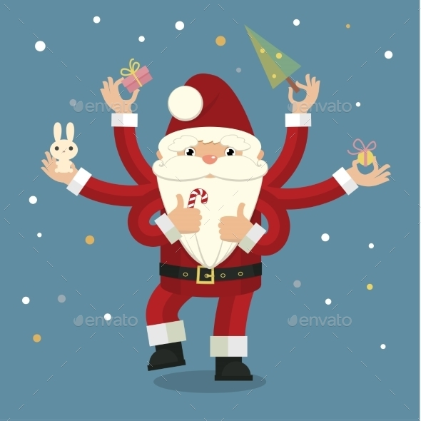 Many-Armed Santa Claus on Blue - Christmas Seasons/Holidays