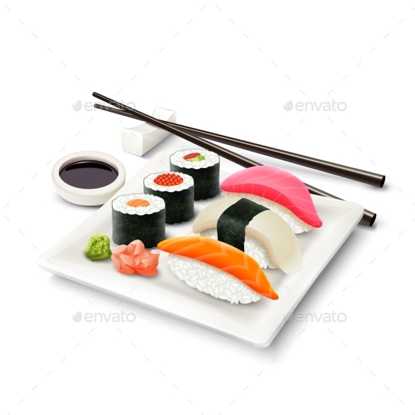 Sushi Realistic Set - Food Objects