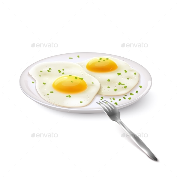 Fried Eggs Realistic - Food Objects