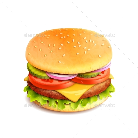 Hamburger Realistic Isolated - Food Objects