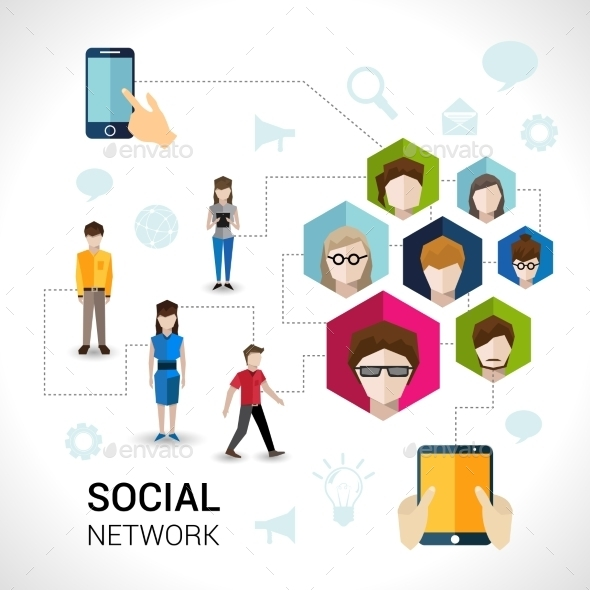 Social Network Concept - People Characters