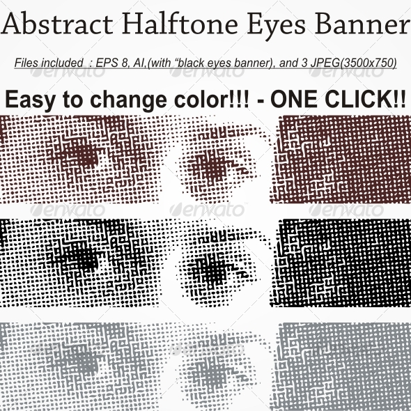 Abstract Halftone Eyes Banner  - Decorative Vectors