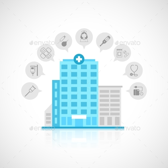 Medical Building Flat - Health/Medicine Conceptual