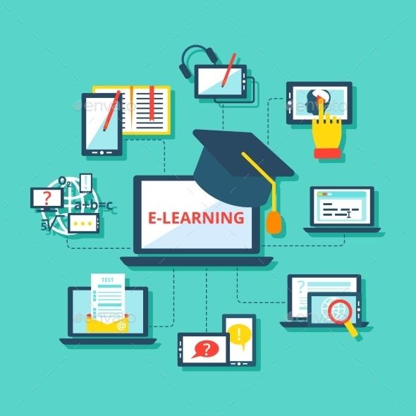 E-Learning Icons Flat - Decorative Vectors