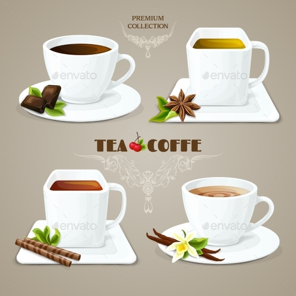 Tea and Coffee Cups Set - Food Objects