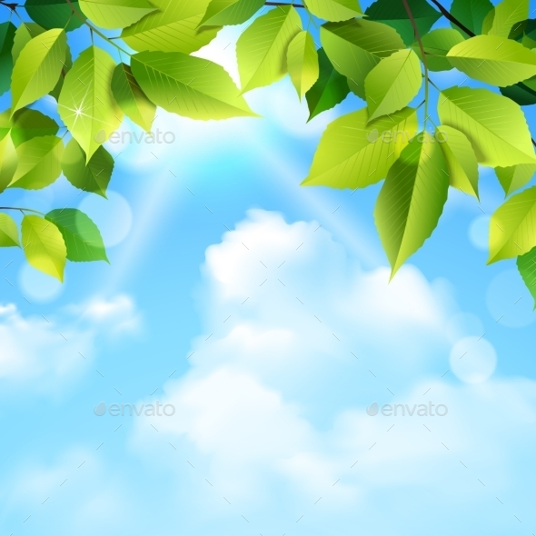 Clouds and Leaves Background - Backgrounds Decorative