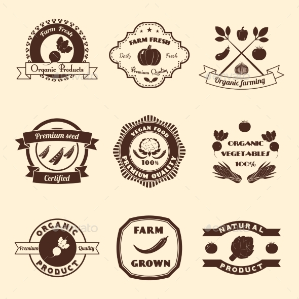Vegetable Label Set - Food Objects