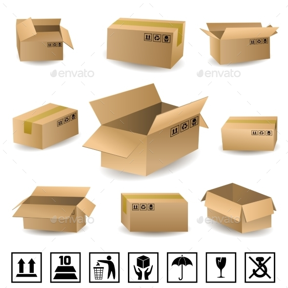 Shipping Boxes Set - Objects Vectors