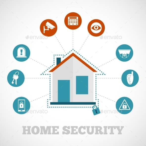 Home Security Icon Flat - Technology Conceptual