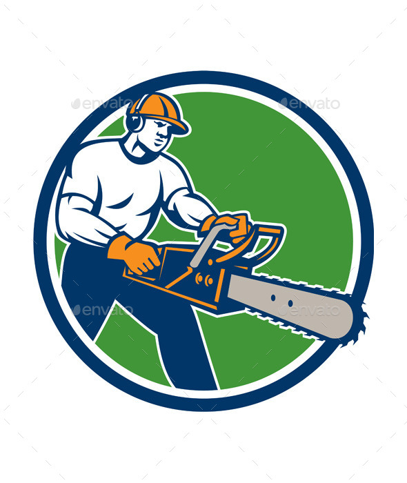 Lumberjack Tree Surgeon Arborist Chainsaw Circle - People Characters