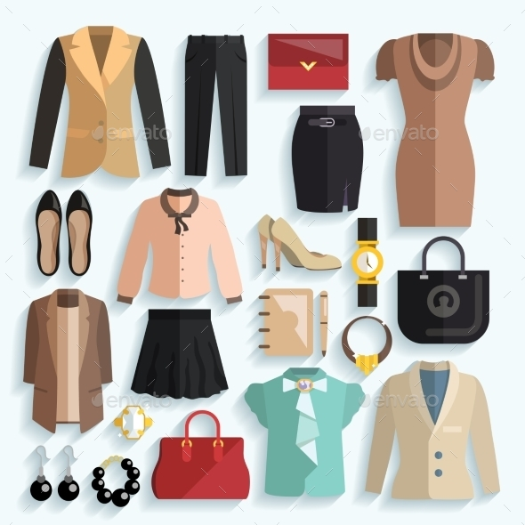 Businesswoman Clothes Icons - Decorative Vectors