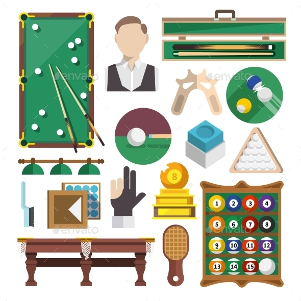 Billiards Icons Flat - Web Elements Vectors
