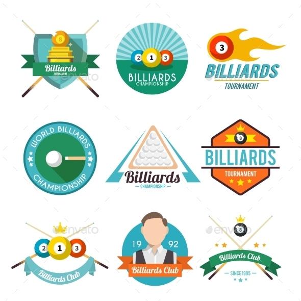 Billiard Label Set - Sports/Activity Conceptual
