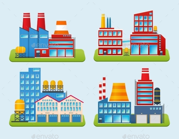 Industrial Building Set - Buildings Objects