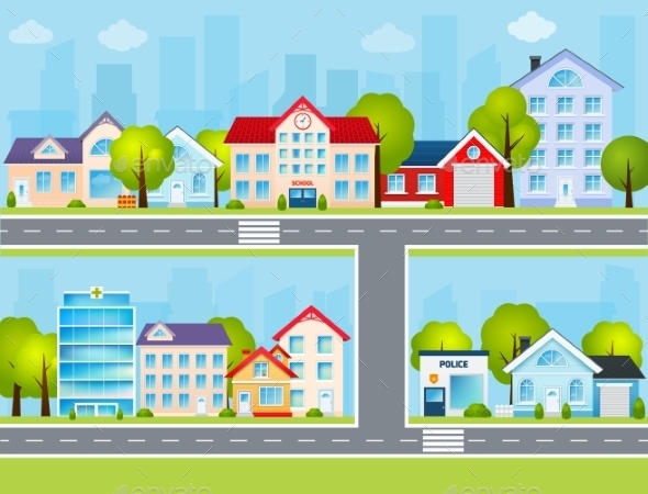 Flat Town Illustration - Buildings Objects