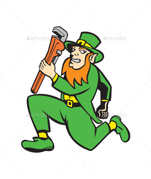 Leprechaun Plumber Running with Wrench - Miscellaneous Characters