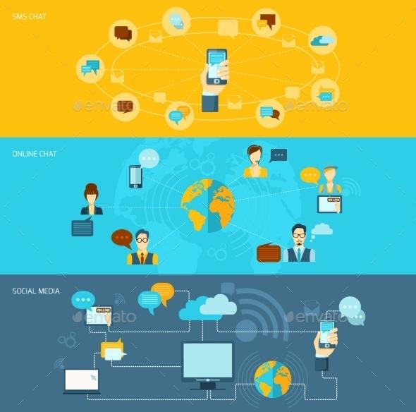 Chat Banner Set - Technology Conceptual