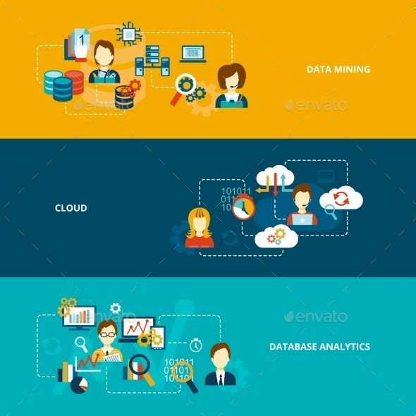 Database Analytics Banner Set - Technology Conceptual