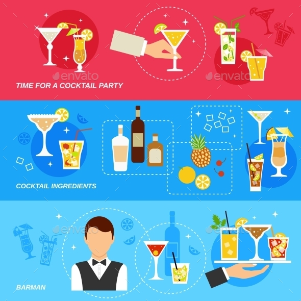Alcohol Cocktails Banner Set - Food Objects