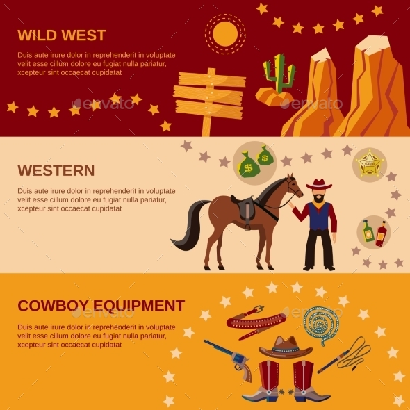 Cowboy Banners - Decorative Vectors