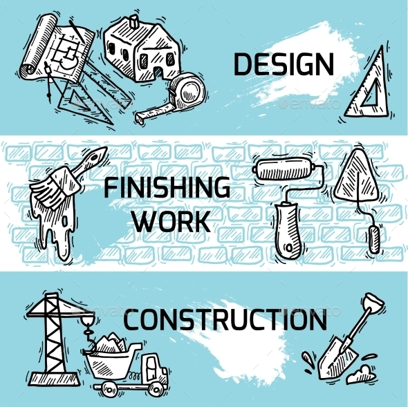 Construction Banner Set - Buildings Objects