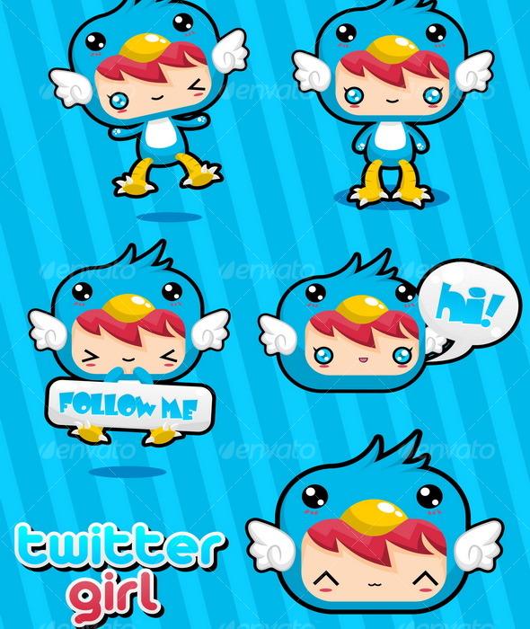 Twitter Girl - Characters Vectors