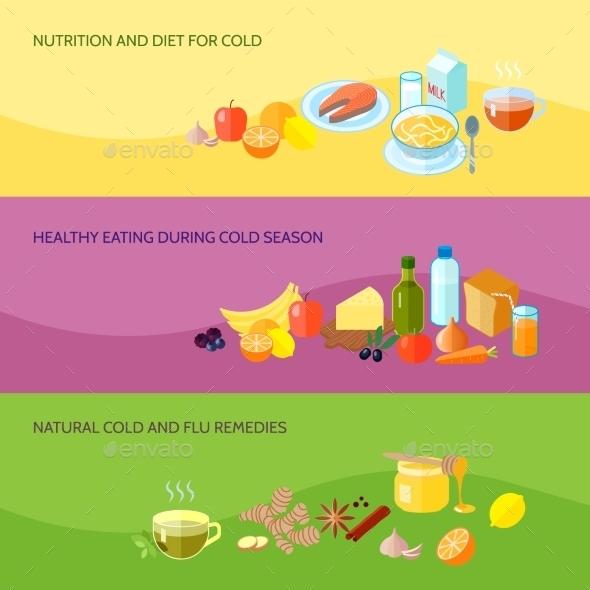 Healthy Food Banner Set - Health/Medicine Conceptual