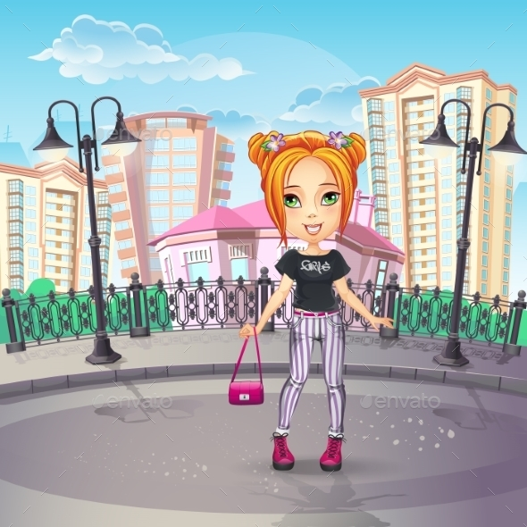 Image of the City Promenade with a Teen Girl - People Characters