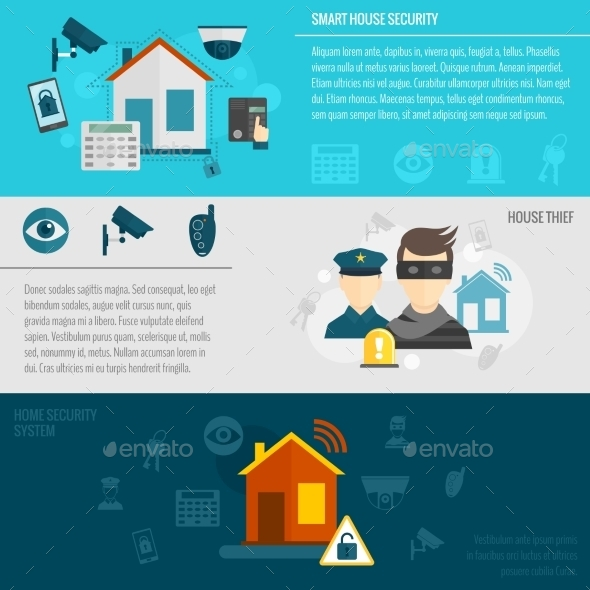 Home Security Banner Set - Technology Conceptual