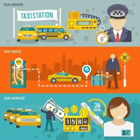 Taxi Banner Set - Travel Conceptual