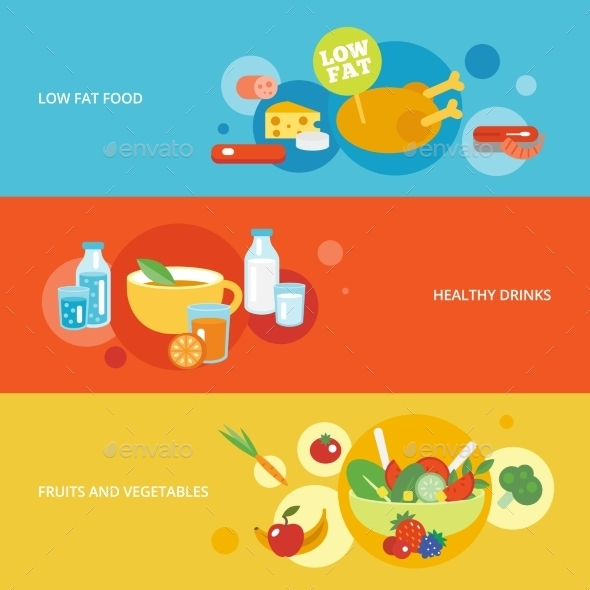 Healthy Eating Flat Banner Set - Food Objects