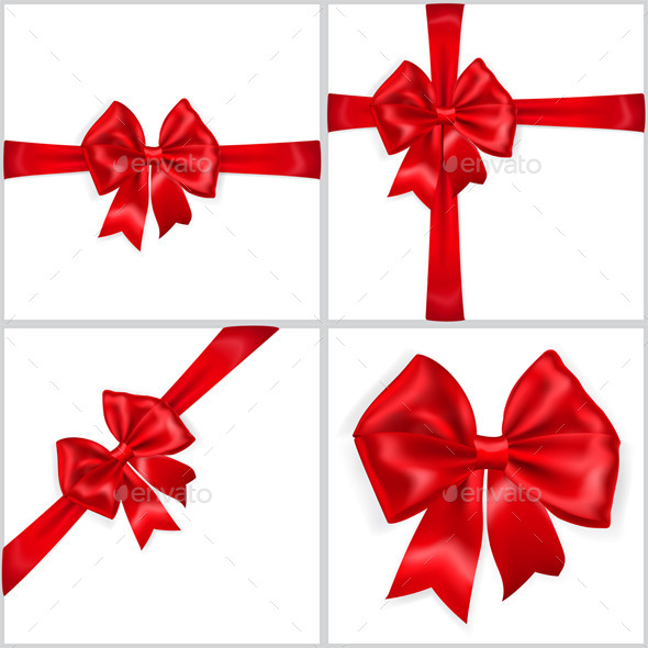 Bows Made of Red Ribbons - Decorative Symbols Decorative