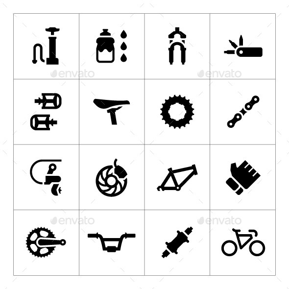 Set Icons of Bicycle Parts and Accessories - Man-made objects Objects