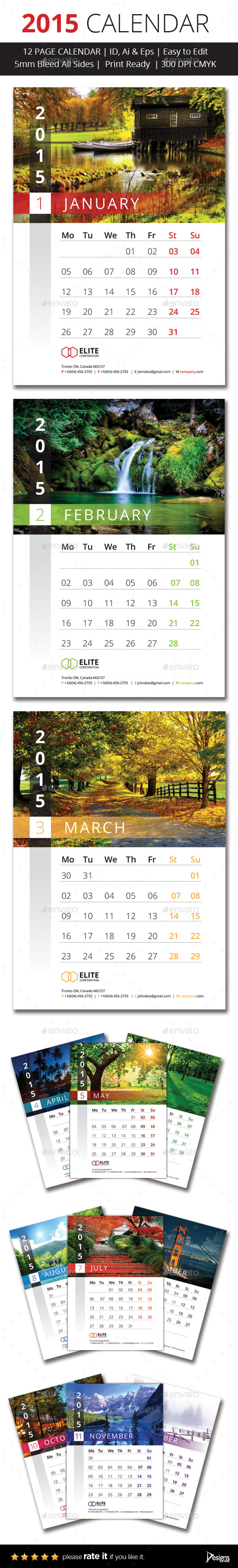 2015 Wall Calender - Calendars Stationery