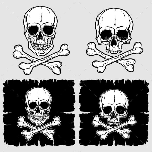 Set of Skull and Crossbones - Objects Vectors