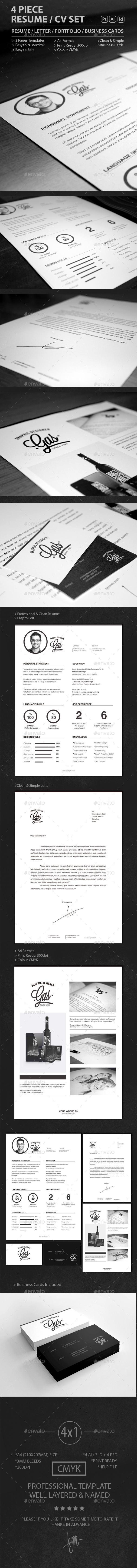 4 Piece Resume / CV SET - Resumes Stationery