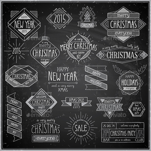 Christmas Hand Drawn Emblems Set - Christmas Seasons/Holidays