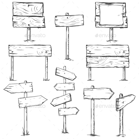 Set of Sketch Signposts - Man-made Objects Objects
