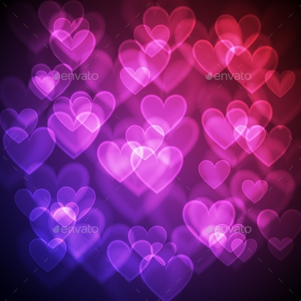 Hearts Bokeh Background - Valentines Seasons/Holidays