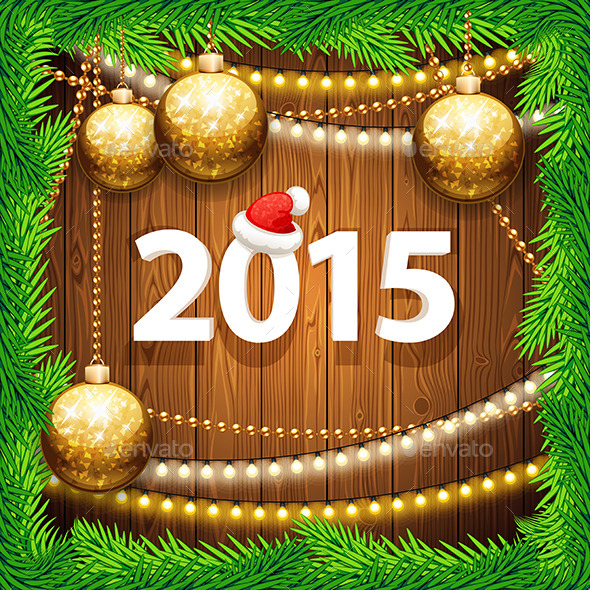 Happy New Year 2015 on Wooden Background - Christmas Seasons/Holidays