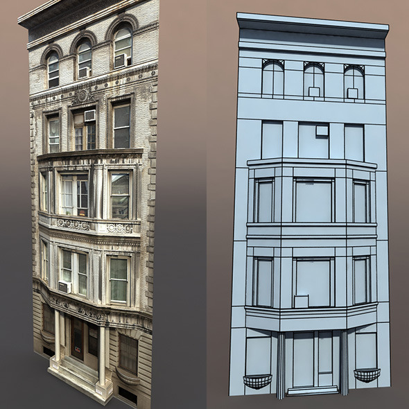 Apartment House #76 Low Poly Model - 3DOcean Item for Sale