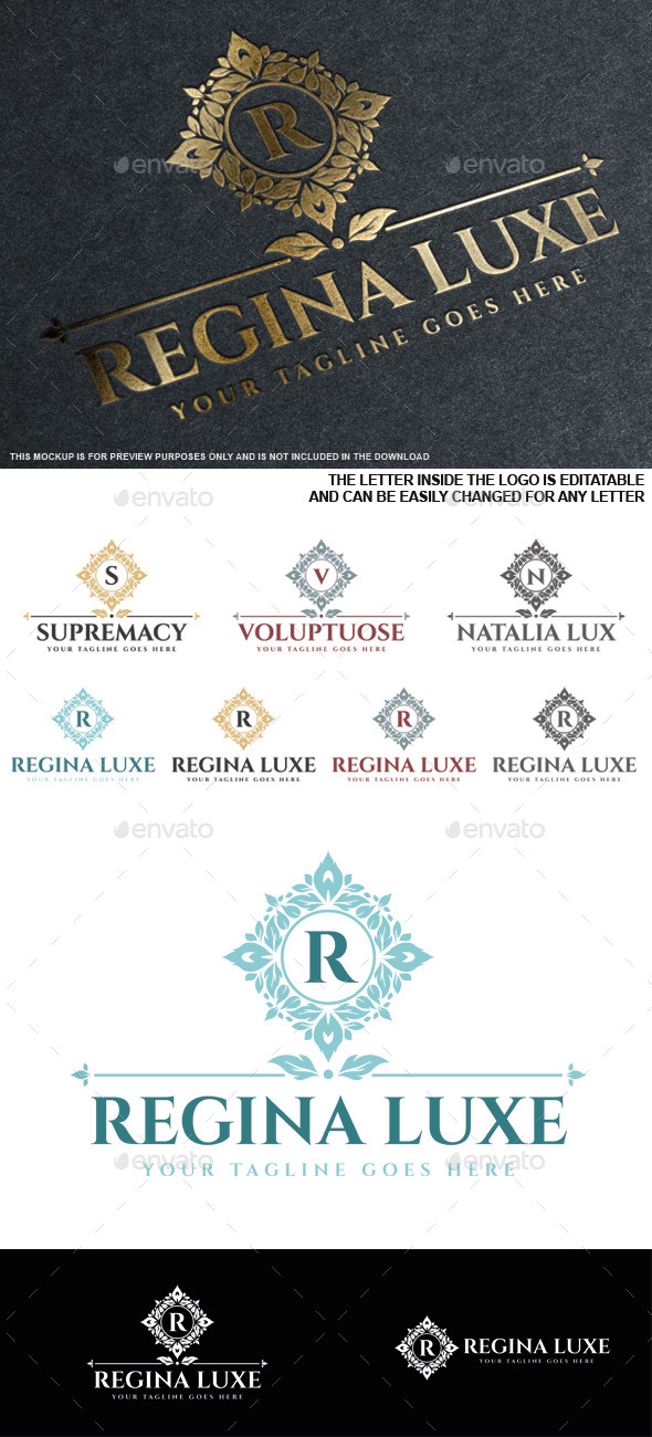Regina Luxe Logo Template - Crests Logo Templates