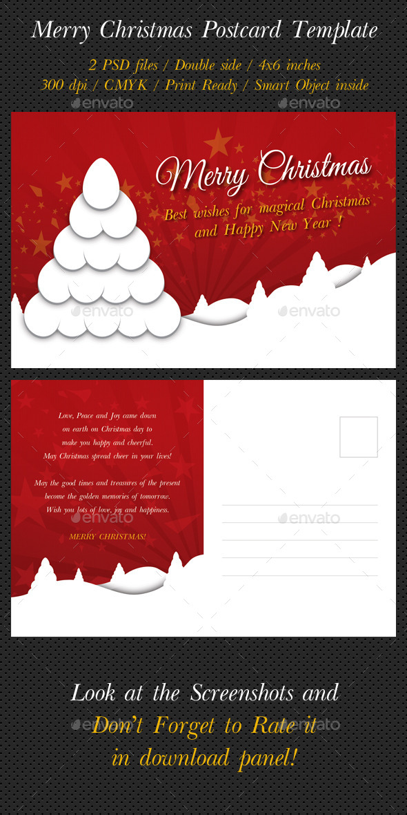 Merry Christmas Postcard Template V03 - Holiday Greeting Cards